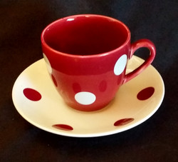 Polka Dot Red Cup & Saucer