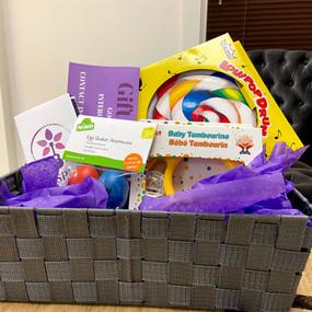 A donation basket for Mount Prospect Junior Women's Club