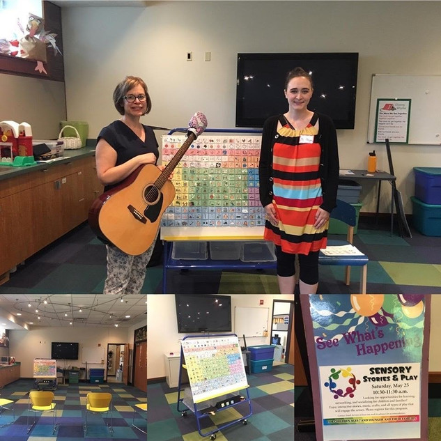 Loren Goodman and Megan Brazas of Speech and Language Pathways volunteer regularly for Sensory Stories and Play at the Mount Prospect Public Library