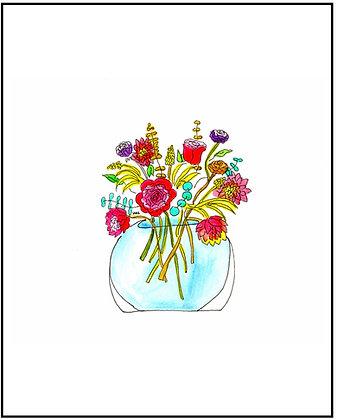 Blue Vase Bouquet