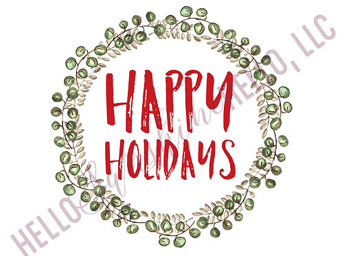 Green Wreath Happy Holidays | Single Card