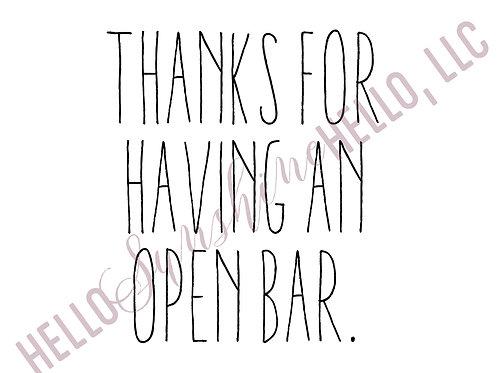 Open Bar | Single Card