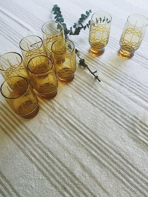 Vintage Amber Iced Tea Glasses {8}