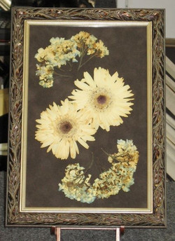 Dried and pressed wedding flowers.