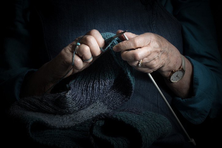 Mum's Hands with Knitting