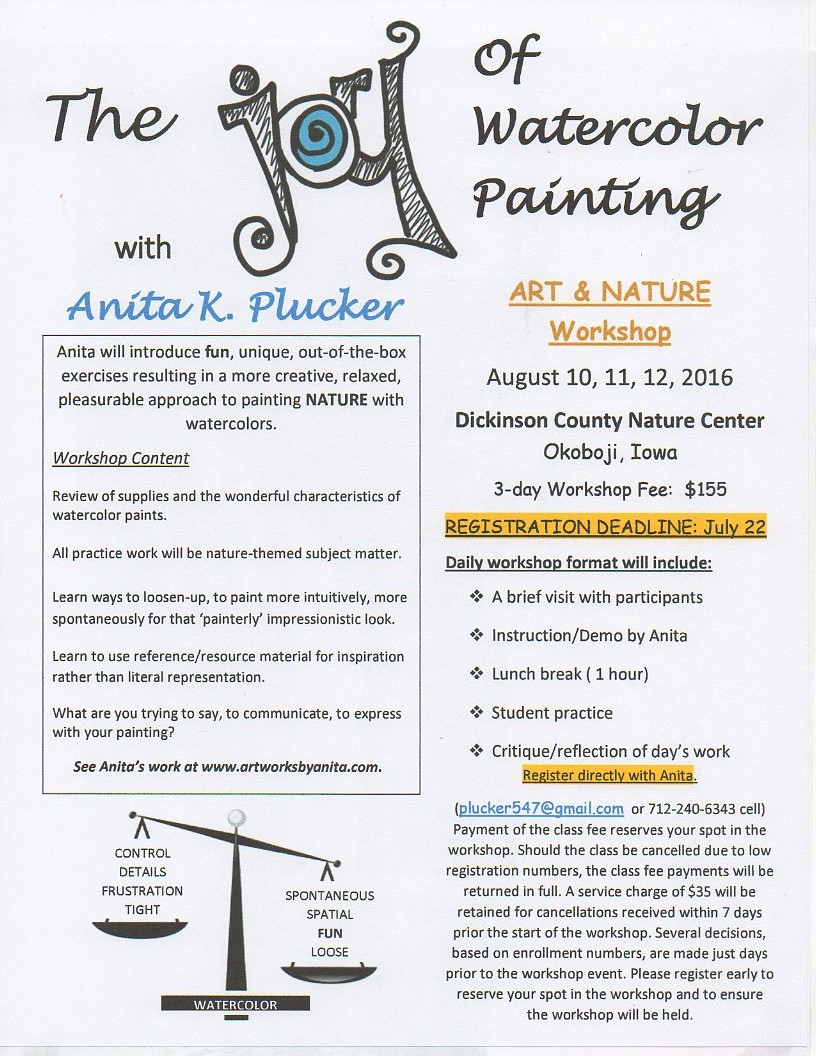 I have a few seats yet available in this August watercolor workshop, set at the beautiful Nature Center in Northwest Iowa. Message me should your have questions. We have a great time!