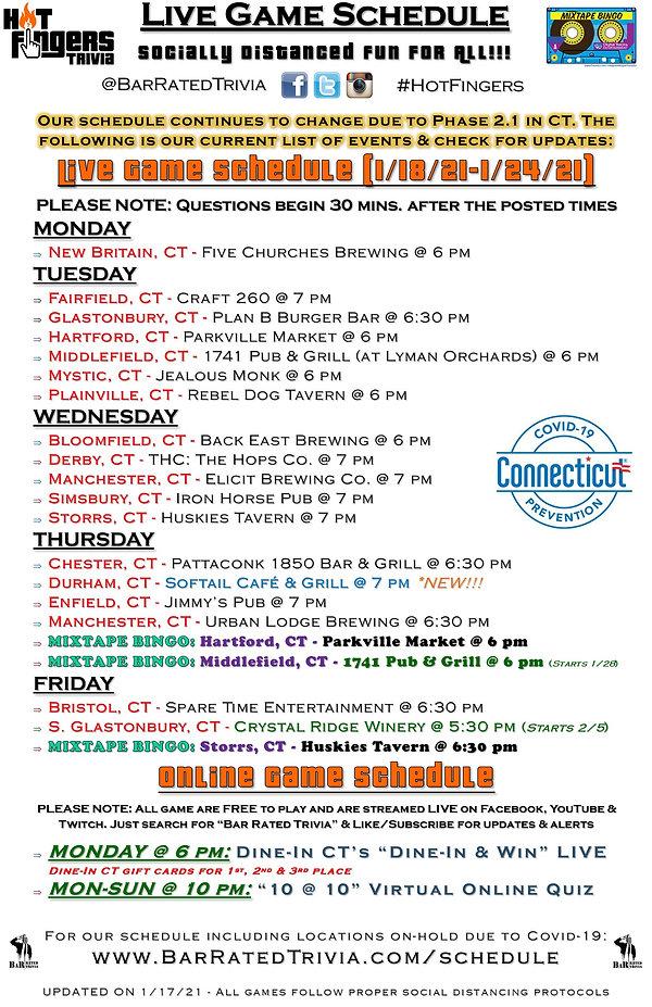 Hot Fingers Trivia Weekly Schedule (1-17