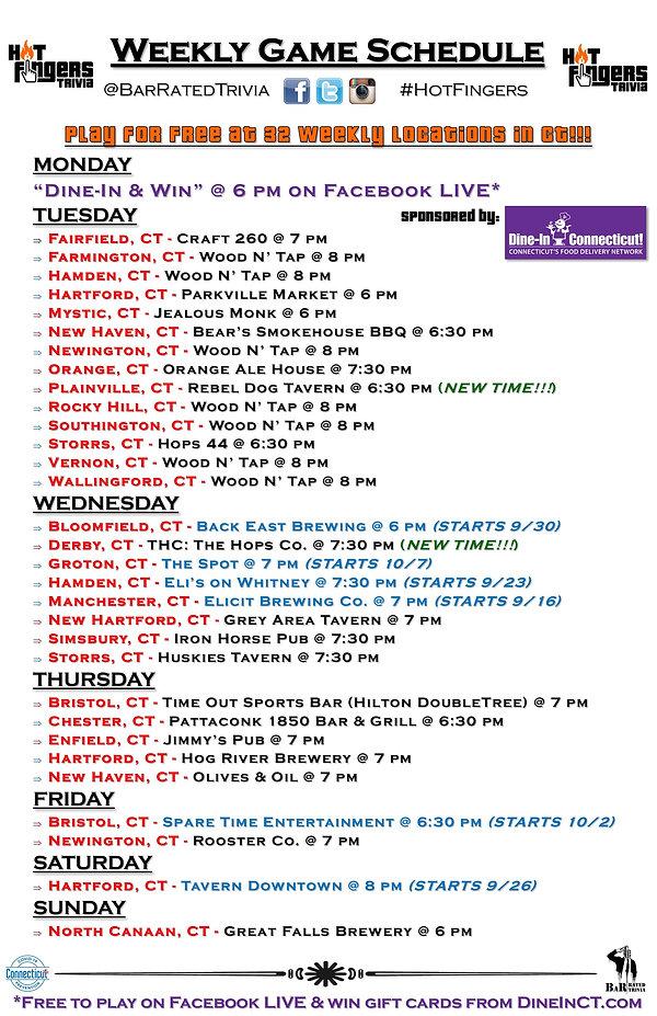 Hot Fingers Trivia Weekly Schedule (9-30