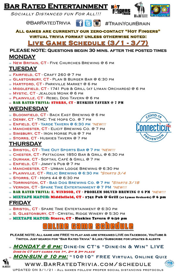 Hot Fingers Trivia Weekly Schedule (3-1-