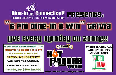 6 pm DINE-IN & WIN - Every Monday - 11-2