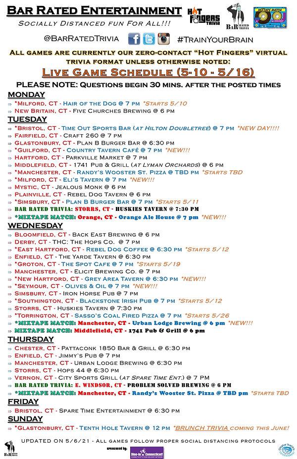 Hot Fingers Trivia Weekly Schedule (5-6-