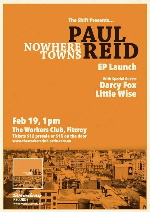 Paul Reid 'Nowhere Towns' EP Launch