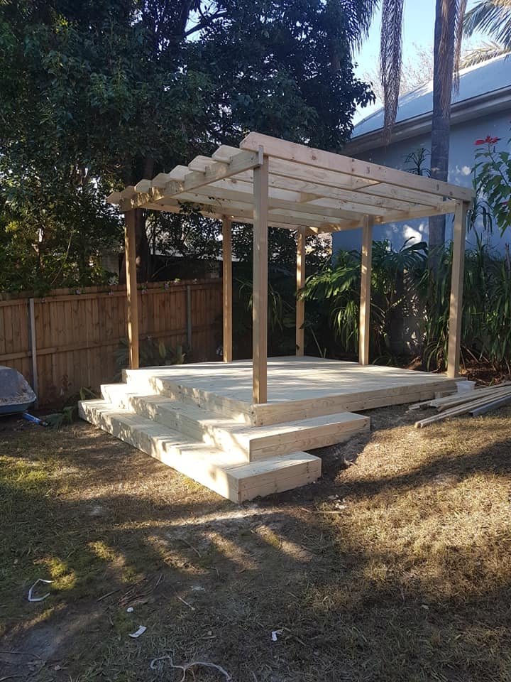 Treated pine decking and pergola