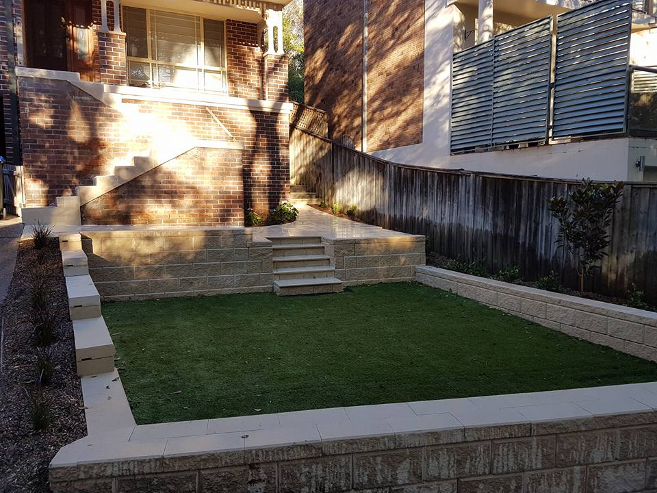 lock blocks and synthetic grass