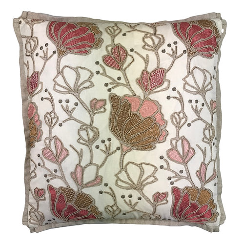 K41285 HEATHGATE CORAL EMBROIDERED W/CUPCAKE FLANGE 22