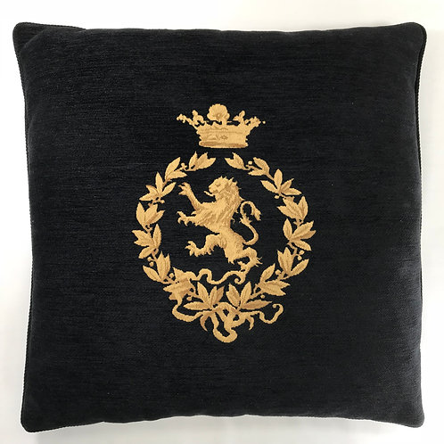 BLACK GOLD CREST EMBROIDERED VELVET 22 G58275