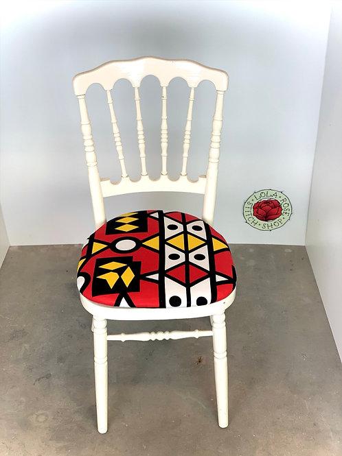 White chair colourful seat