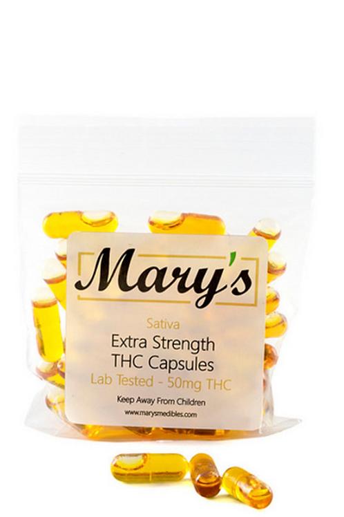 Mary's THC Capsules (50mg, Sativa) – 30 Capsules