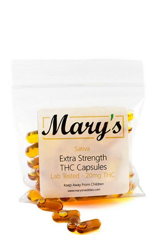 Mary's THC Capsules (20mg, Sativa) – 40 Capsules