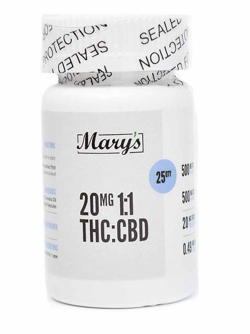 Mary's 1:1 THC:CBD Capsules (20mg) – 25 Capsules