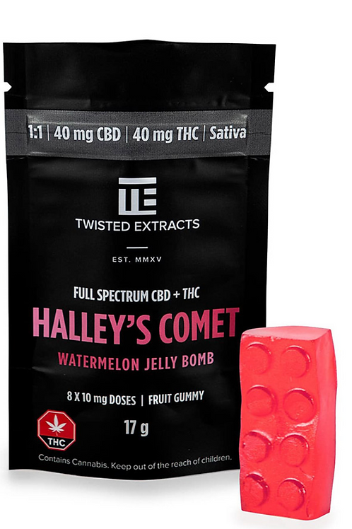 Halley's Comet Jelly Bomb – Watermelon 1:1 (40mg CBD:40mg THC) Sativa
