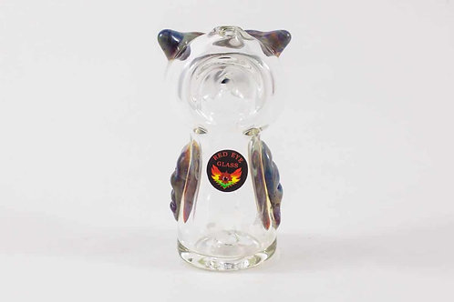 Red Eye Glass Owl Pipe