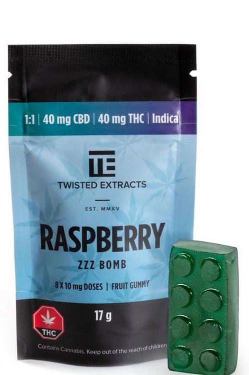 ZZZ Jelly Bomb – Raspberry (40mg CBD:40mg THC) Indica