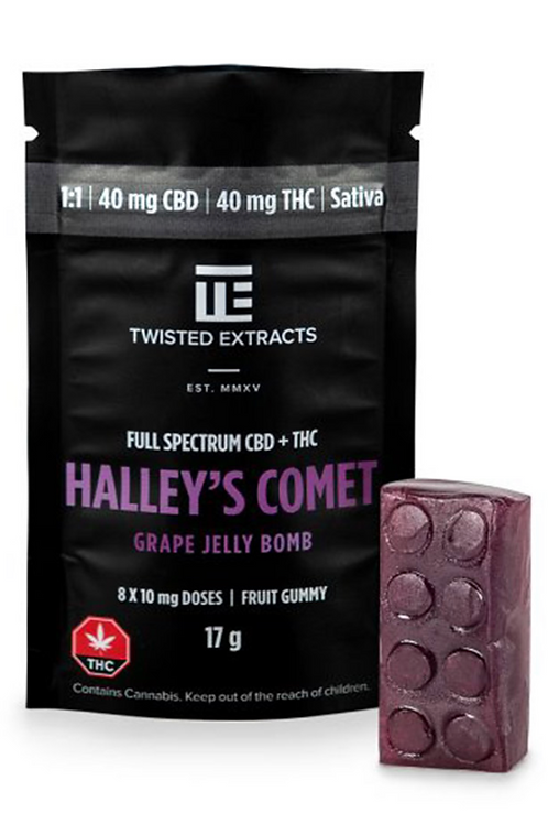 Halley's Comet Jelly Bomb – Grape 1:1 (40mg CBD:40mg THC) Sativa
