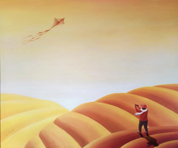 Chlapec pouští papírového draka