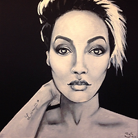 @leimaje realistic stylized portrait painting black white grayscale art