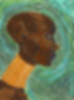 African woman mosaic style painting art