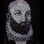 selfportrait painting beard mosaic art atlanta artist