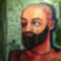 beard man self portrait tear crying relationships break up painting art
