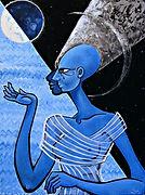 blue art expressionism nefertiti queen painting artbeets