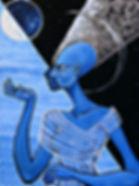lunar moon queen nefertiti egyptian goddess blue art painting modern artbeets