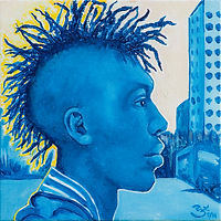 blue dreadlock mohawk profile art painting portrait