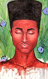 high top fade flat black man portrait painting art