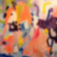 abstract art purple peach painting