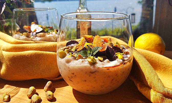 Mediterranean Burgundy Rice Pudding with Fresh Figs