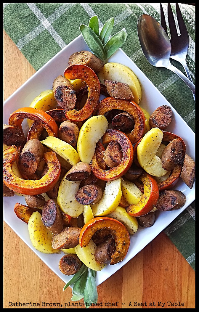 Roasted Pumpkin, Apples and Plant-based Sausages