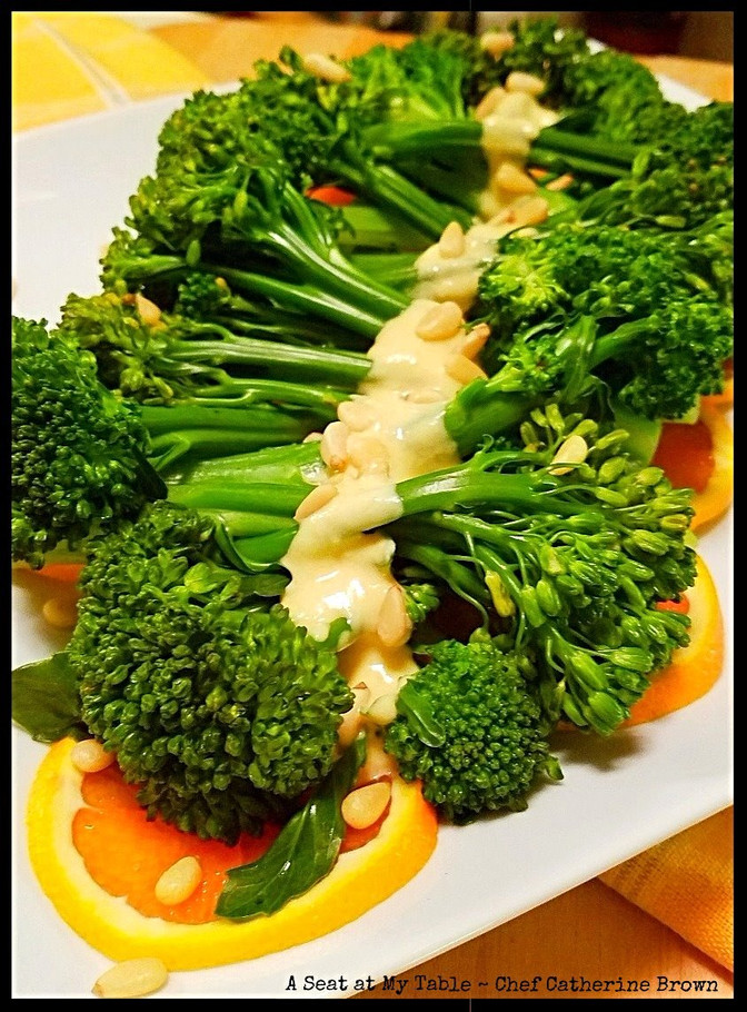 Steamed Broccolini with Orange Ginger Dressing