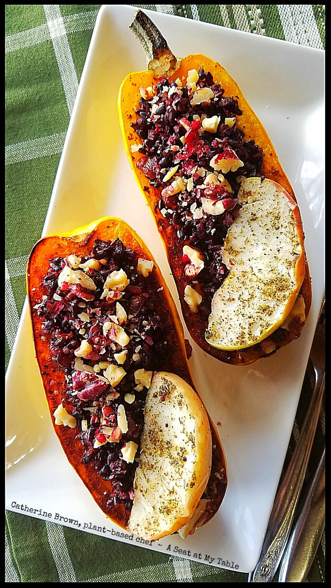 Roasted Delicata Squash, Apples and Black Rice - Two ways!
