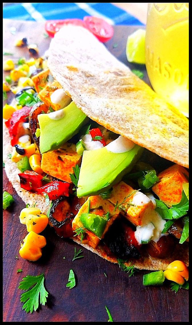 Grilled Tofu Tacos with Roasted Jalapeno Lime Sauce