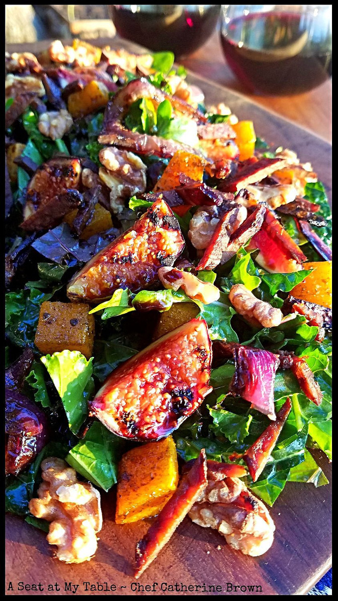 Kale Salad with Grilled Figs, Roasted Butternut Squash and Walnuts