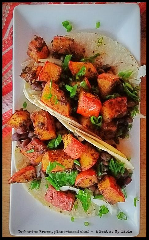 Roasted Pumpkin and Black Bean Tacos with Garlic Lime Crema