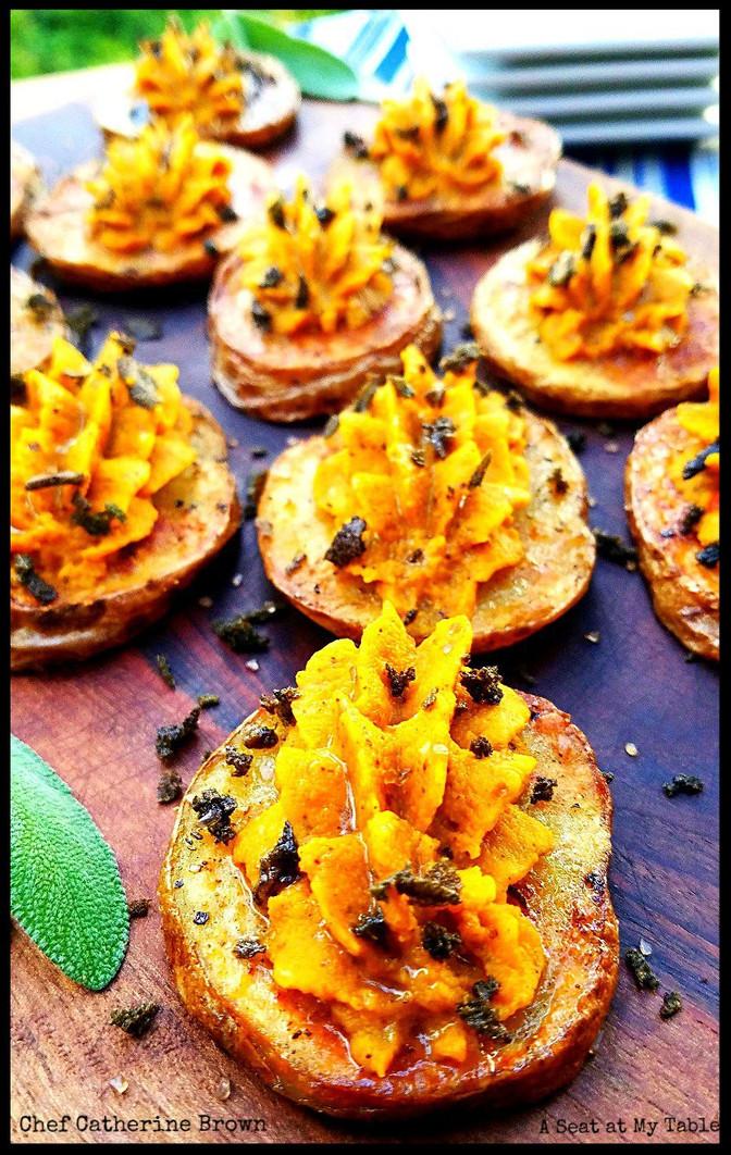 Crispy Potatoes with Pumpkin Hummus