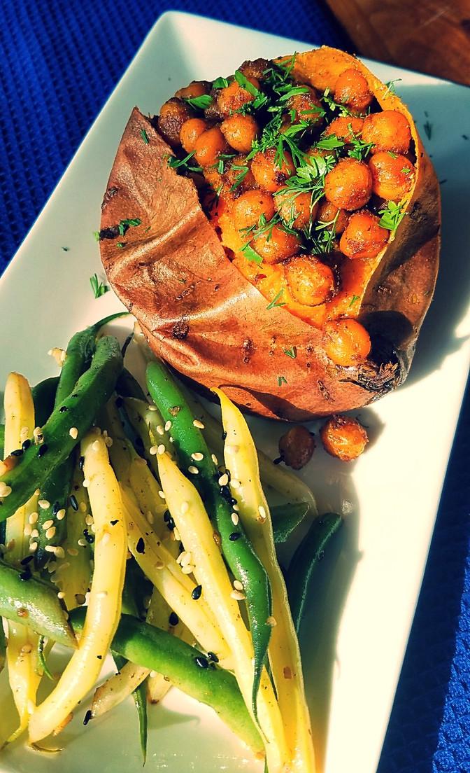Chickpea-stuffed Sweet Potatoes