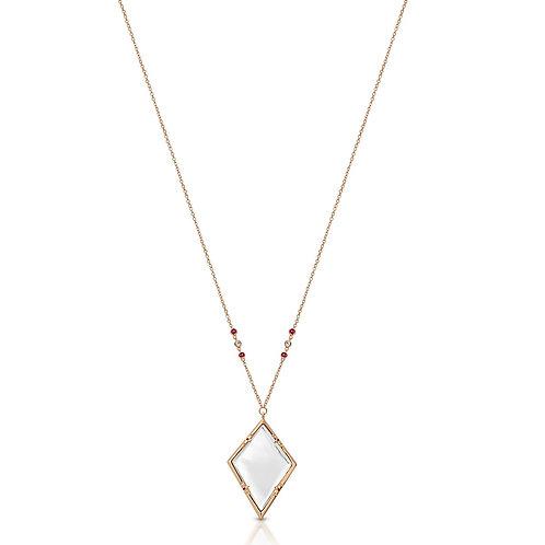 Emmeline Rose Gold Ruby - Magnifier Pendant Necklace