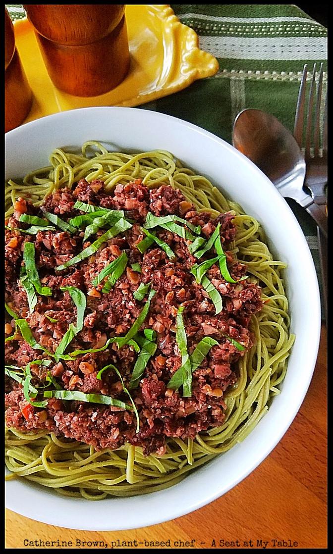 Cauliflower, Mushroom & Walnut Meatless 'Bolognese' Over Edamame Spaghetti