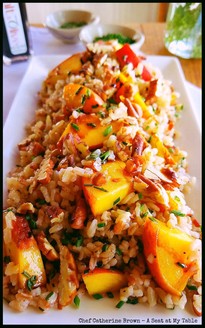 Grilled Peach & Volcano Rice Pilaf